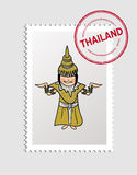 Thai cartoon person postal stamp. Thai woman cartoon with thailand postal stamp. Vector illustration layered for easy editing royalty free illustration