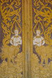 Thai carve on wooden board door style , in the temple at Norther Royalty Free Stock Images