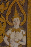 Thai carve on wooden board door style , in the temple at Norther Royalty Free Stock Photos