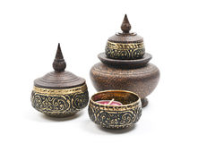 Thai carving brass bowl set  on white back Stock Images