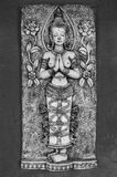 Thai Carving of Naked Goddess Stock Photography