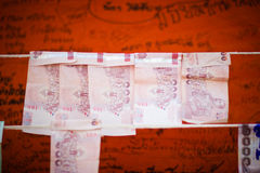 Thai cash for donate in Thai temple Royalty Free Stock Photography