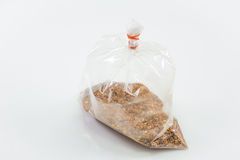 Thai cayenne pepper in plastic bag. With white background Stock Photo