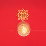 Thai ceiling light lamp on red background in thai temple. Royalty Free Stock Images