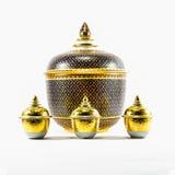 Thai ceramic ware handcraft bowl. Isolated on white background Royalty Free Stock Image