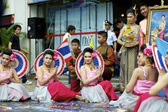 Thai ceremony. Bangkok, Thailand - August 12, 2011: A thai dancing group performing to the mother's day holiday which is celebrating Queen Sirikit's birthday Stock Photos