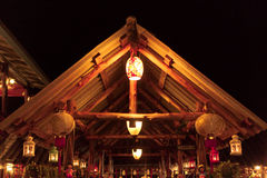 Thai Chalet Restaurant Night. Yara seafood fireflies online recommended restaurants, food in general, today's fireflies less, but watch the sunset vision is good royalty free stock image