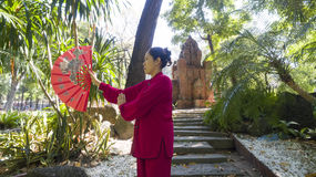 Tai Chi practice. Woman practice Thai Chi in front of the old shrine Royalty Free Stock Photo