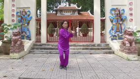 Tai Chi master. Woman practice Thai Chi in frontof the old shrine stock video footage