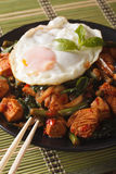 Thai chicken with basil and egg close-up on a plate vertical. Thai Gai Pad Krapow chicken with basil and egg close-up on a plate vertical Stock Photography