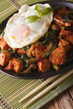 Thai chicken with basil, green beans and a fried egg on a plate Royalty Free Stock Images