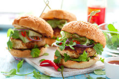 Thai chicken burger. With cucumber and sweet chilli sauce royalty free stock image