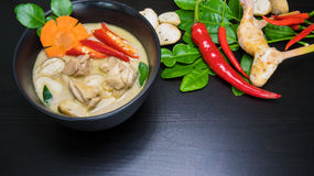 Thai Chicken Coconut Soup - Tom Kha Gai. Delicious spicy coconut cream soup with chicken Royalty Free Stock Photos