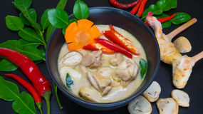 Thai Chicken Coconut Soup - Tom Kha Gai. Delicious spicy coconut cream soup with chicken Royalty Free Stock Images