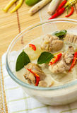 Thai chicken galangal soup. Thai cuisine Tom kha kai , This soup is made with coconut milk, galangal, lemon grass, and chicken Royalty Free Stock Photos