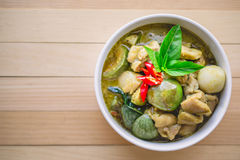 Thai Chicken Green Curry. Famous Thai Tradition Food with Copy S Royalty Free Stock Photo