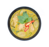 Thai chicken green curry, Thai food. Thai chicken green curry isolated on white background Royalty Free Stock Photos