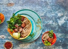 Thai chicken meatball noodle bowls Stock Photography