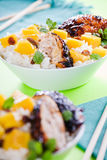 Thai Chicken With Rice And Mango Stock Photography