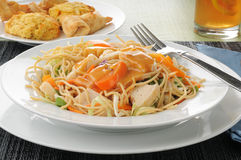 Thai chicken salad with crab rangoon Stock Images