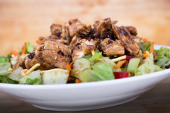 Thai chicken salad. Delicious healthy thai style chicken salad bowl royalty free stock photos