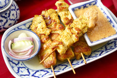 Thai Chicken Satay. Photographed at a local Thai restaurant royalty free stock image