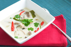 Thai chicken soup with coconut milk Stock Photos