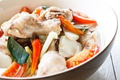 Thai Chicken Soup in Coconut Milk. Thai Dishes-Thai Chicken Soup in Coconut Milk Stock Image