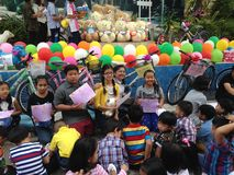 Thai primary school students on children`s day stock images