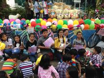 Thai primary school students on children`s day royalty free stock photography