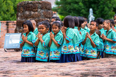 Thai children pay respect by Wai Stock Photography