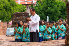 Thai children pay respect by Wai Royalty Free Stock Photo