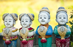 Thai children stucco doll salute. Royalty Free Stock Photos