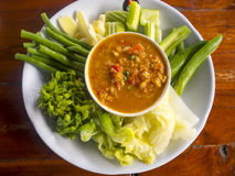 Thai chili paste with mix of fresh vegetables, Thailand food nam. E is Nam Prik Royalty Free Stock Photos
