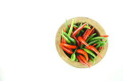 Thai Chili Style with wooden mortar. With white background Stock Photo