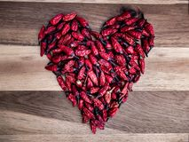 Thai chilies in the shape of a heart royalty free stock photos