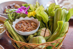Thai chilli sauce and mixed vegetables, Thai food. Royalty Free Stock Photo