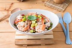 Thai Chinese kale with prawn salad Stock Photos