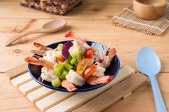 Thai Chinese kale with prawn salad Stock Photography