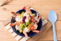 Thai Chinese kale with prawn salad Stock Image