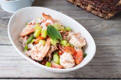 Thai Chinese kale with prawn salad Stock Photo
