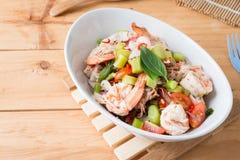 Thai Chinese kale with prawn salad Royalty Free Stock Image