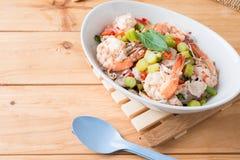 Thai Chinese kale with prawn salad Royalty Free Stock Photo