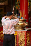 Thai Chinese Man praying Stock Photos