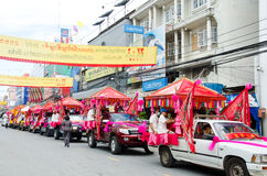 Thai Chinese Monks parade. Stock Photo