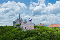 Thai church on the hill Royalty Free Stock Photo