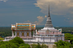 Thai church and Thai pagoda on the hill Royalty Free Stock Photography