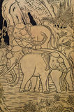 Elephant In Classic Thai Art. Elephant in gilded on black lacquer or in Thai name is Lai Rod Nam Stock Photography