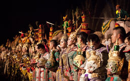 Thai classical masked ballet and Thai historical a Royalty Free Stock Photography