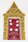 Thai classical style ancient art of golden window frame in temple Royalty Free Stock Images
